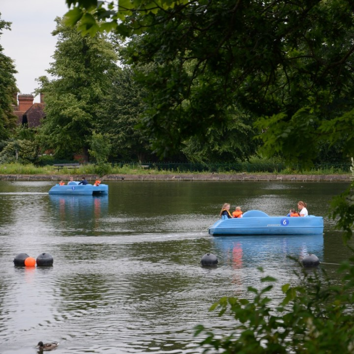 crystal palace park with kids pedal boat