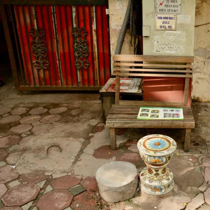 travel with kids vietnam hanoi bench