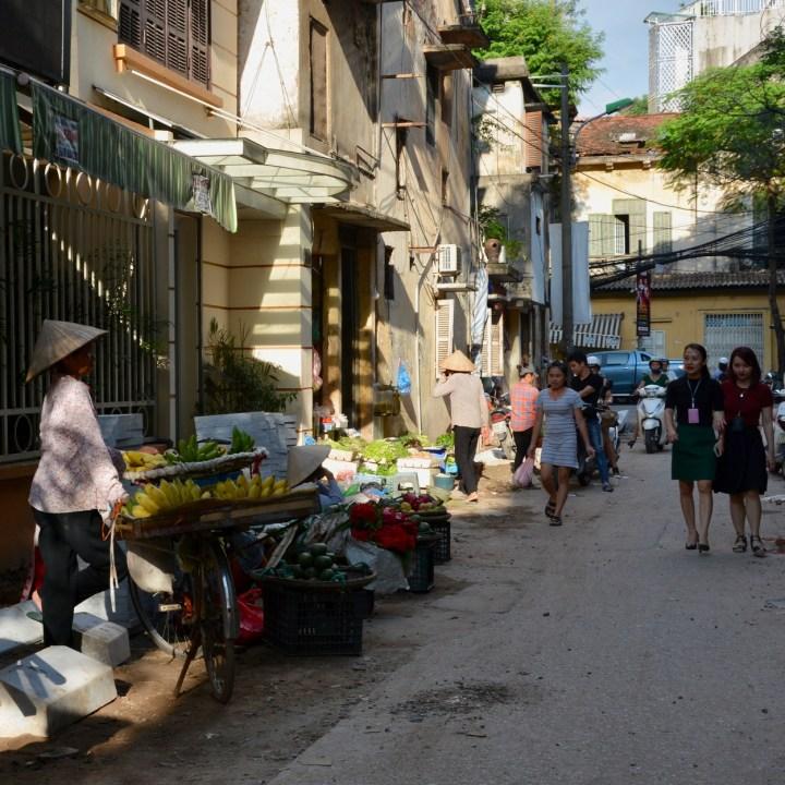 travel with kids vietnam hanoi market day