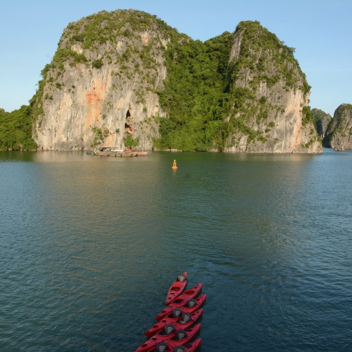 vietnam with kids ha long bay kayak station