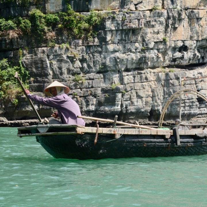 vietnam with kids ha long bay fisher man