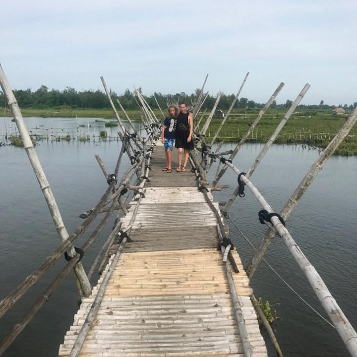 travel with kids vietnam hanoi bamboo bridge