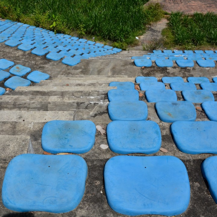 vietnam with kids hue abandoned waterpark blue seats