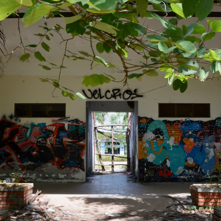 vietnam with kids hue abandoned waterpark entrance