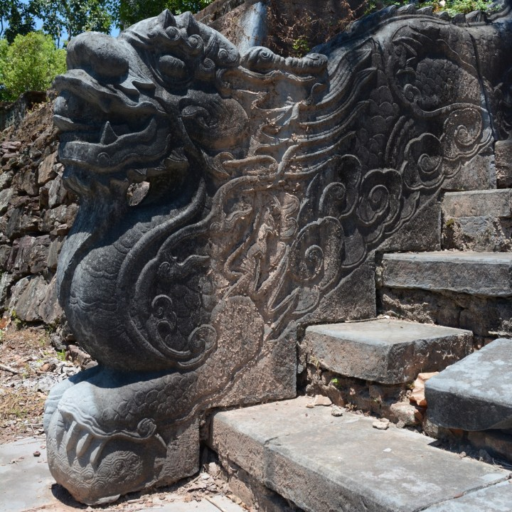 vietnam travel with kids hue Tomb of King Thieu Tri dragon stairs