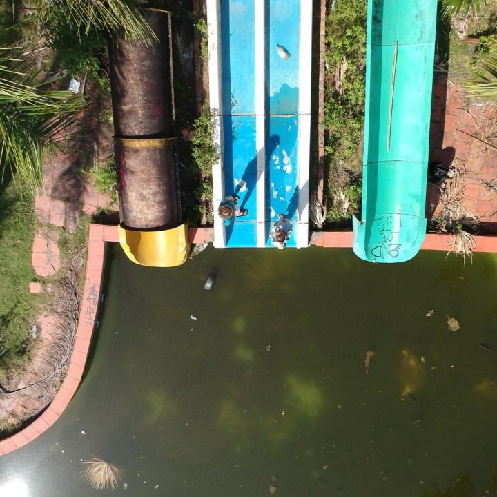 vietnam with kids hue abandoned waterpark slide view