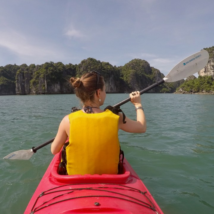 visit vietnam with kids ha long bay kayaking