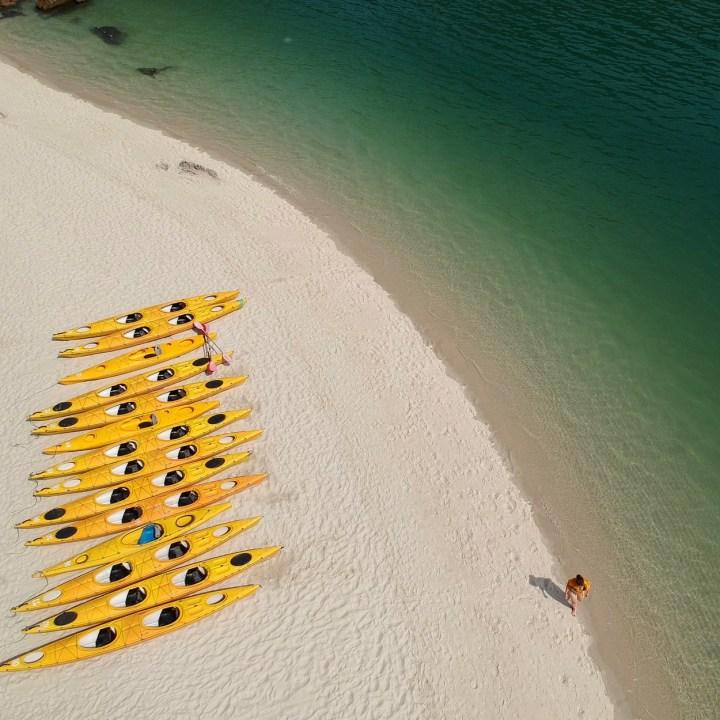 vietnam with kids ha long bay kayaks
