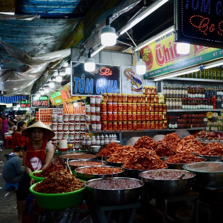 vietnam with kids hue market prawns