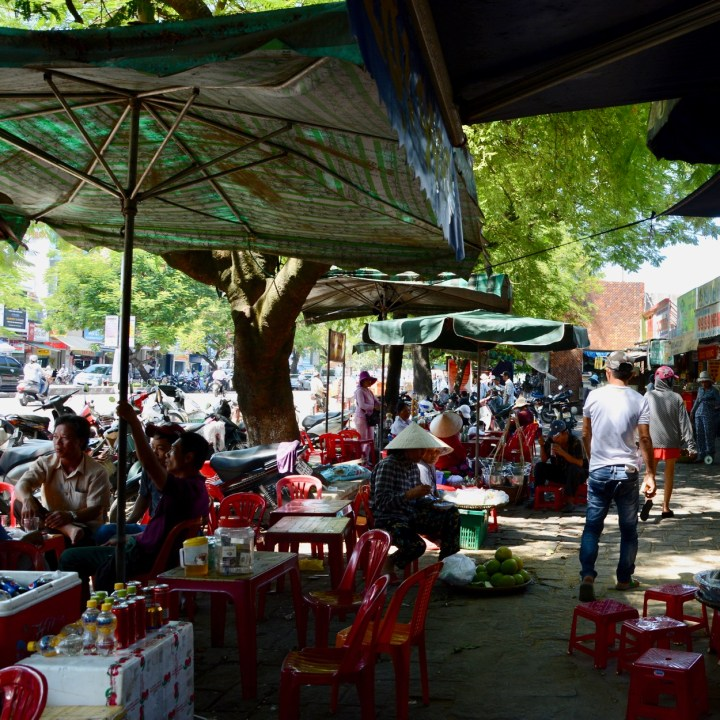 vietnam with kids hue market food stall