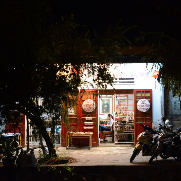 hoi an by night with kids propaganda posters