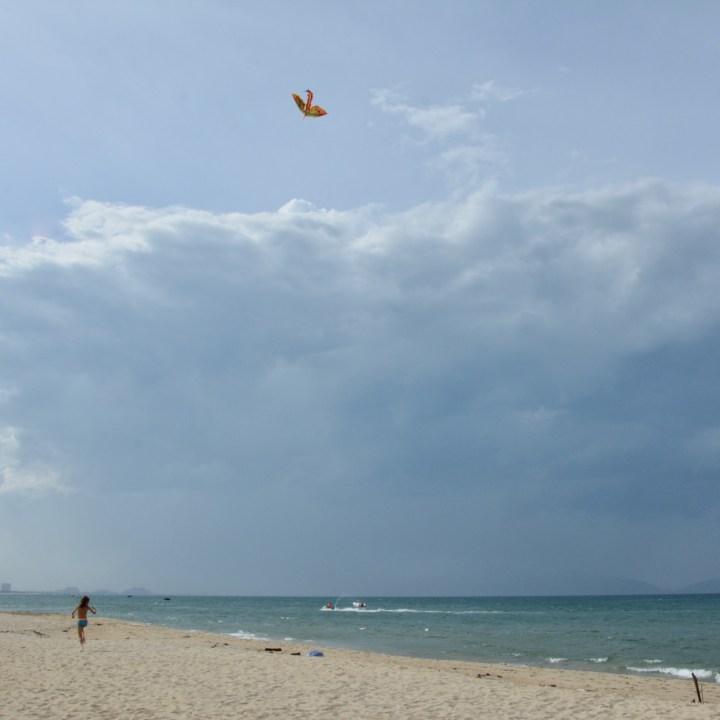vietnam with kids an bang bike beach dragon kite