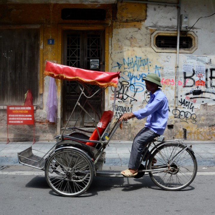hanoi with kids bike taxi
