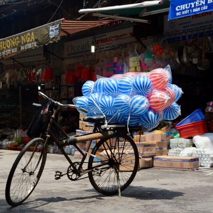 hanoi with kids market bike load