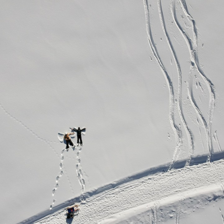 seiser alm skiing with kids snow angels