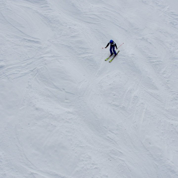 seiser alm skiing with kids lonely skier