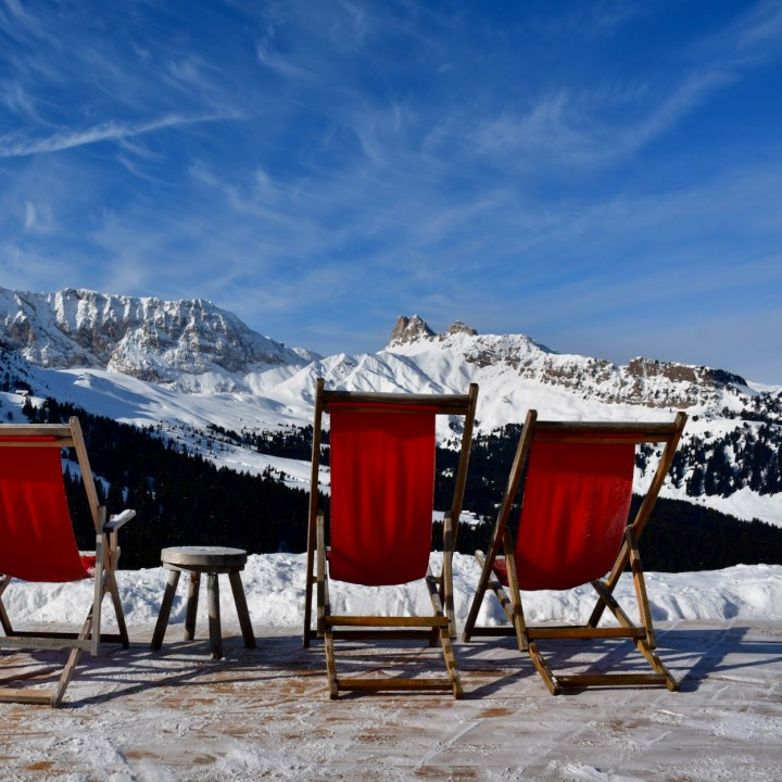 seiser alm skiing with kids deck chairs