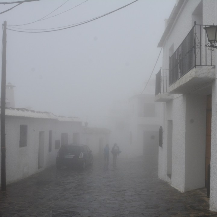 bubion with kids walk in the mist
