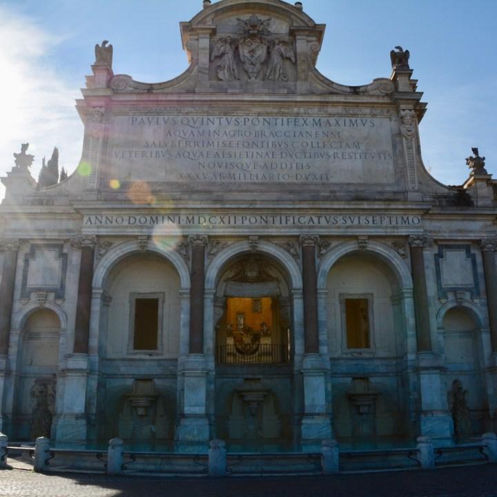 Rome with kids fontana dell aqua paola