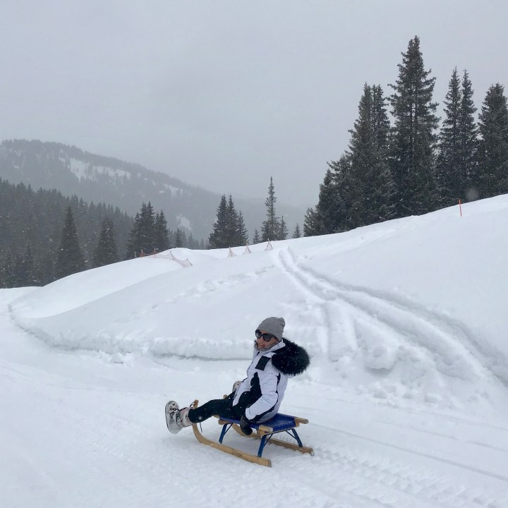 seiser alm skiing with kids sledging fun