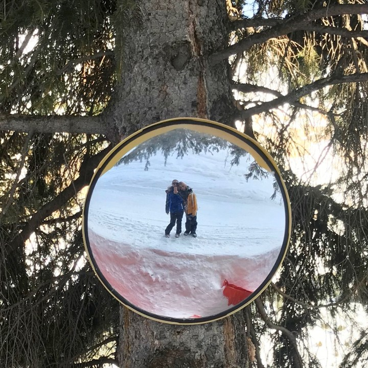 seiser alm skiing with kids mirror selfie