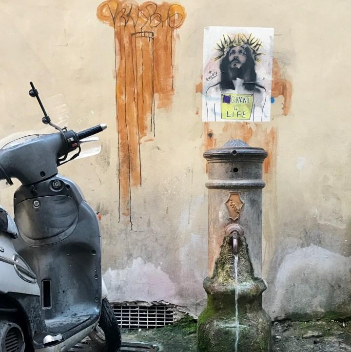 Rome with kids jesus street art