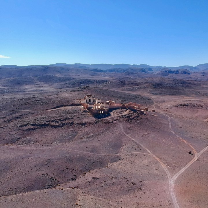 Ouarzazate Morocco with kids abandoned filmset aerial