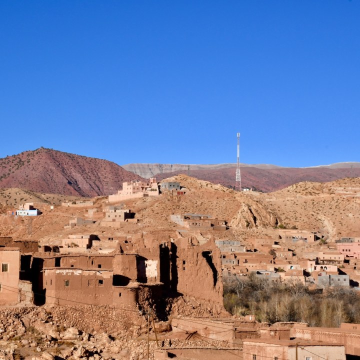 Morocco with kids telouet telegraph mast