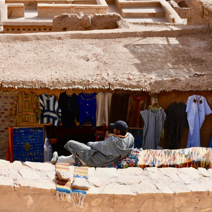 Ait Benhaddou with kids Morocco souvenir shop