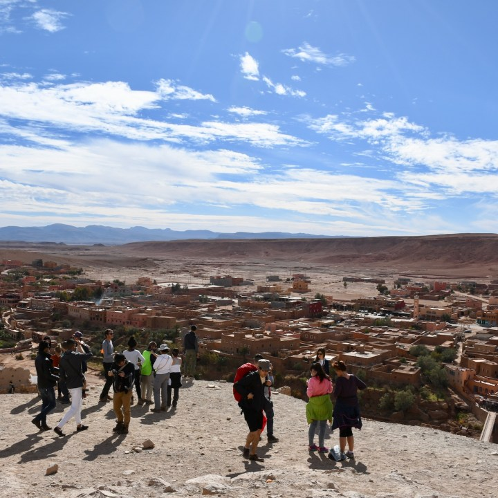Ait Benhaddou with kids Morocco tourists