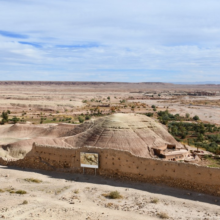 Ait Benhaddou with kids Morocco mound view