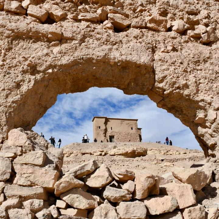 Ait Benhaddou with kids Morocco peep hole