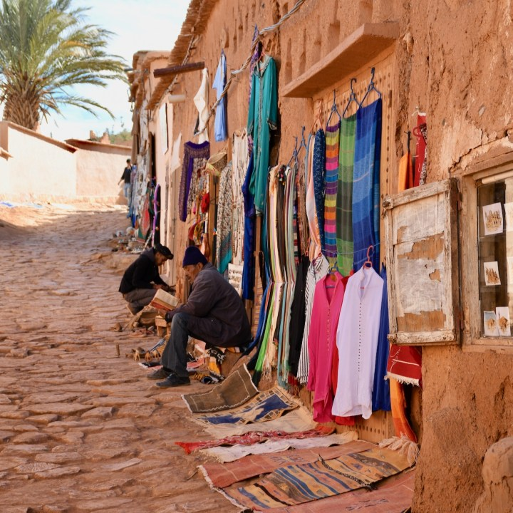 Ait Benhaddou with kids Morocco souvenir shop