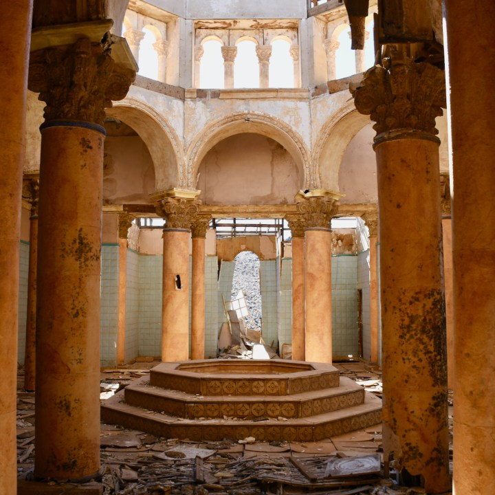 Ouarzazate Morocco with kids abandoned filmset roman bath