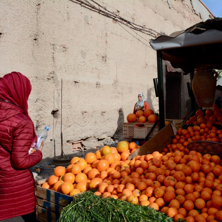 Morocco with kids fruit market