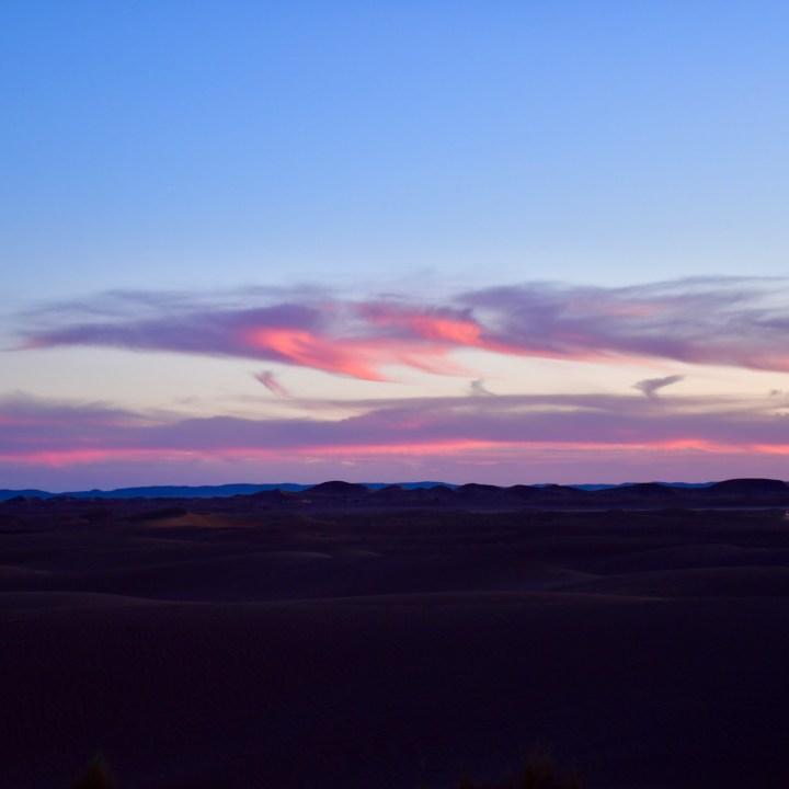 La Kahena luxury camp Erg Chigaga Sahara pink clouds