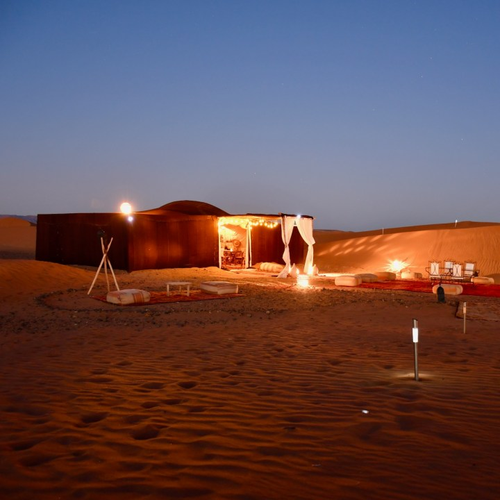 La Kahena luxury camp Erg Chigaga Sahara evening