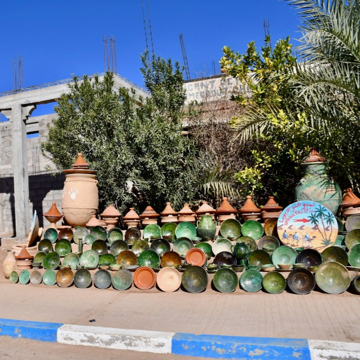 Morocco with kids glazed pottery M'Hamaid pottery
