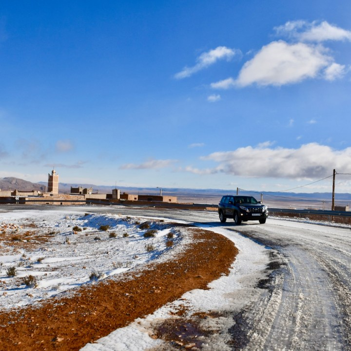 snow in the desert Morocco 4x4 drive