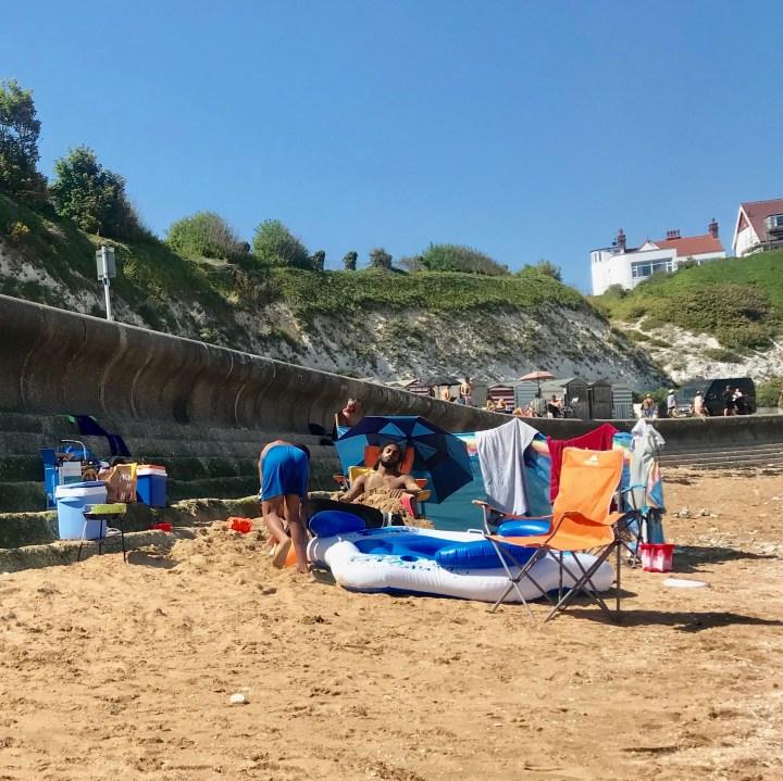 Broadstairs wit kids British seaside life'sa beach