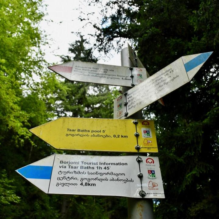 Borjomi with kids adventure trail sign posts