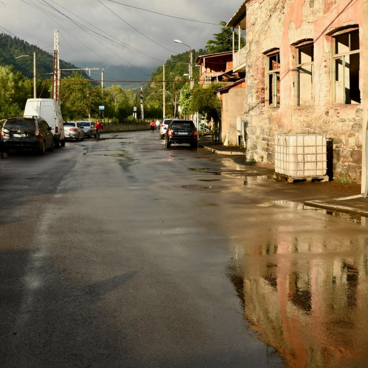 Borjomi Georgia with kids after the rain
