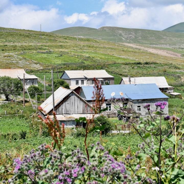 Lake Tabatskuri Georgia with kids village view