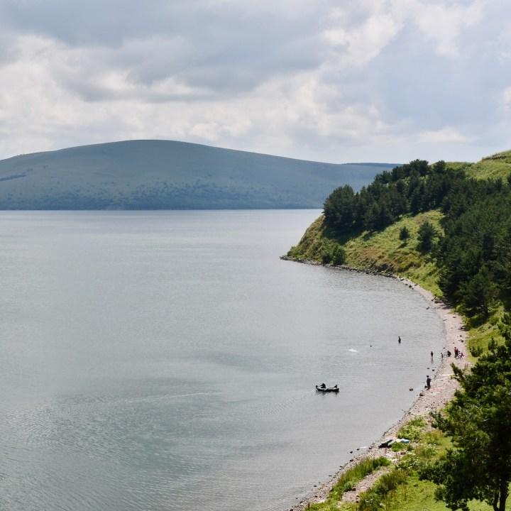 Lake Tabatskuri Georgia with kids beach