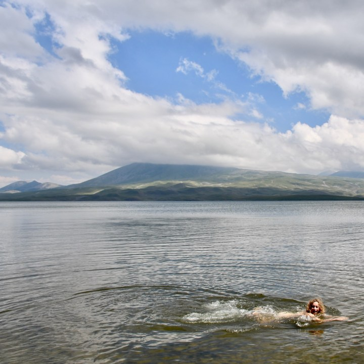 Lake Tabatskuri Georgia with kids swim