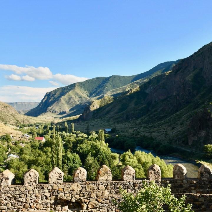 Khertvisi Georgia castle valley view