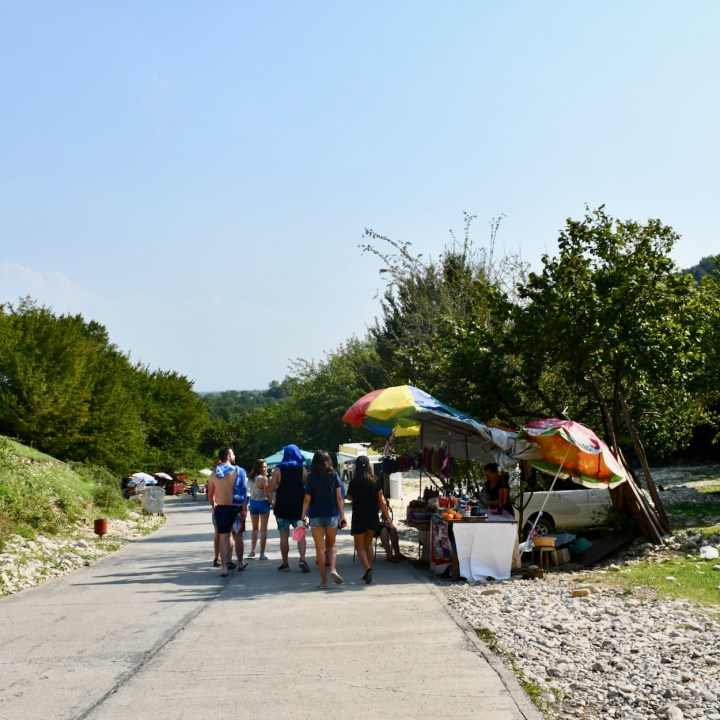 Martvili Canyon Georgia with kids food stalls