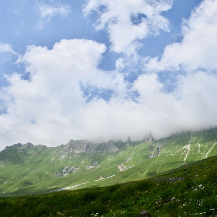 Gudauri with kids cloudy mountains