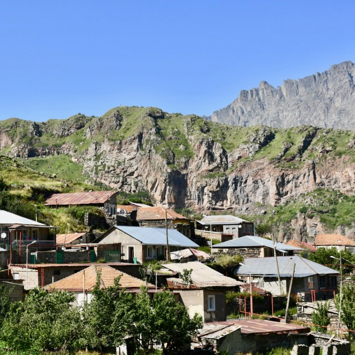 Gergeti village view