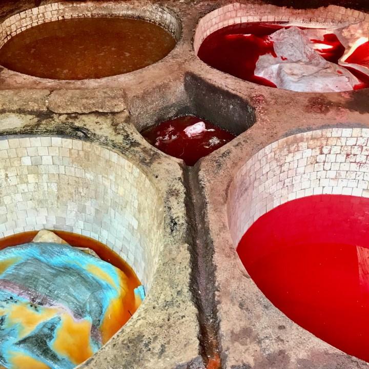 Fez Ain Azliten tannery colourful dye